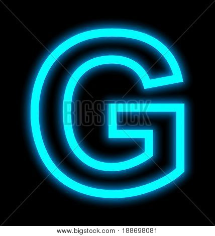 Letter G Neon Lights Outlined Isolated On Black