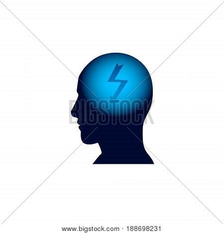 Head Icon, Brainstorm Thinking New Idea Concept Flat Vector Illustration
