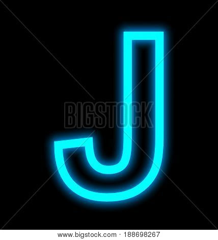 Letter J Neon Lights Outlined Isolated On Black