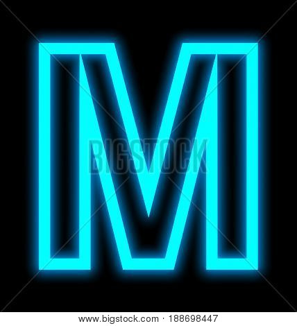 Letter M Neon Lights Outlined Isolated On Black