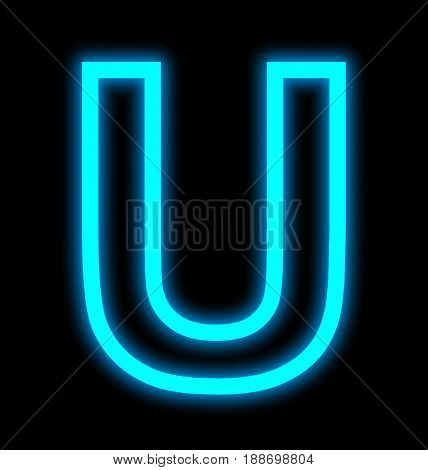 Letter U Neon Lights Outlined Isolated On Black