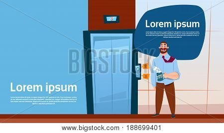 Business Man Boss Waiting Elevator Hold Hot Coffee Cup, Modern Office Interior Banner With Copy Space Flat Vector Illustration
