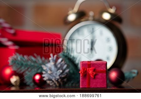 Gifts, Candy, Alarm Clock And Christmas Decorations