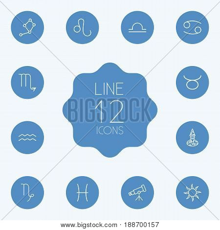 Set Of 12 Horoscope Outline Icons Set.Collection Of Capricorn, Sun, Taurus And Other Elements.