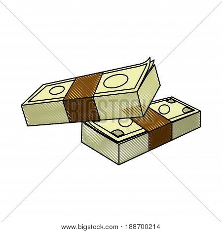 money concept. stacked pile of hundred us dollar cash. vector illustration