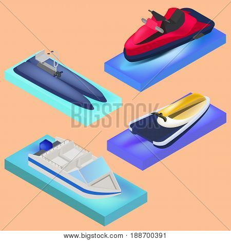 Isometric water transport motor boat water bike jet ski in vector