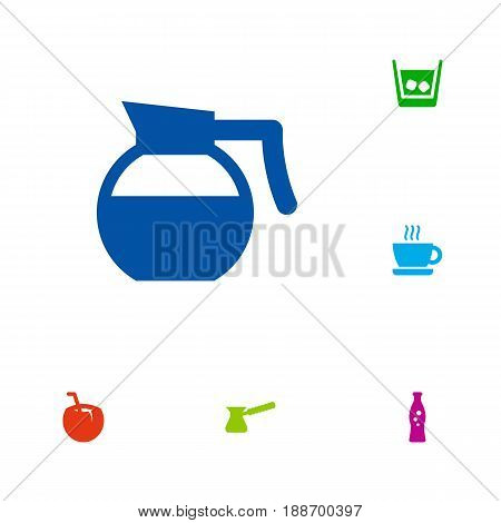 Set Of 6 Beverages Icons Set.Collection Of Fizzy Water, Turkish Coffee, Cocktail And Other Elements.