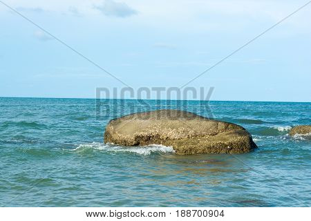 Seascape of Hua Hin Thailand.beautiful sea with rock and blue sky.natural photo background