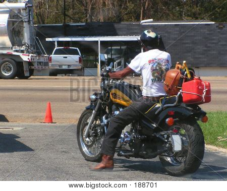 Motorcycle Looking For Gas