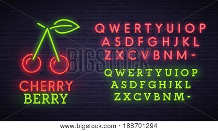 Cherry neon sign, bright signboard, light banner. Berry logo, emblem. Neon sign creator. Neon text edit.