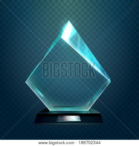 Hexadecimal transparent glassware cup or rhombus victory trophy, crystal shiny pedestal prize or achievement award with light reflection. Leadership and championship badge, sport winner sign