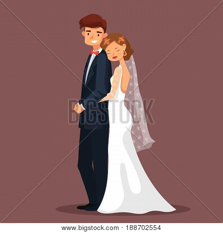 Couple of mature man and woman having wedding. Bride in dress or wife with veil in hair and husband or groom in suit hugging, Married fiancee female embrace male. People and celebration, romance theme
