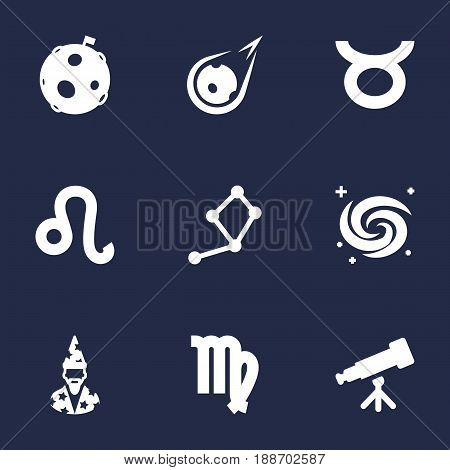 Set Of 9 Galaxy Icons Set.Collection Of Binoculars, Virgin, Lion And Other Elements.