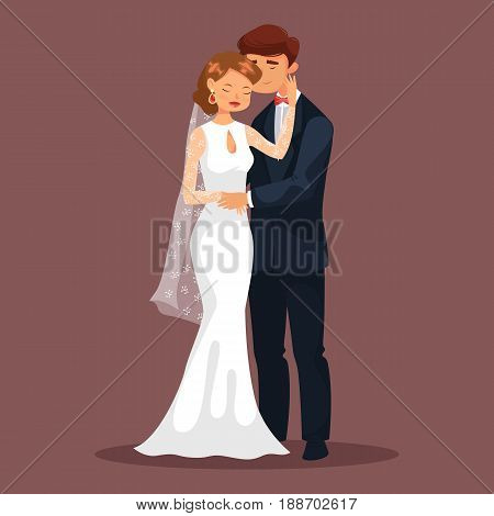 Married couple, woman and man at wedding. Bride or wife and husband in suit or groom. Smiling fiancee or young female caress her man at celebration. Relationship and romance, marriage theme