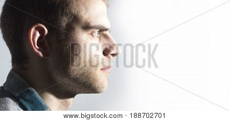 Male profile on white man, male, profile, background,
