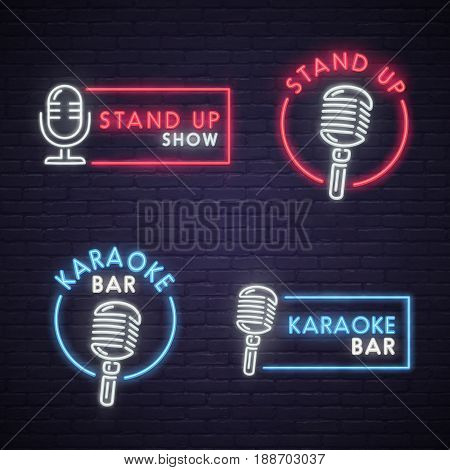 Stand Up and Karaoke bar neon sign. Neon sign, bright signboard, light banner