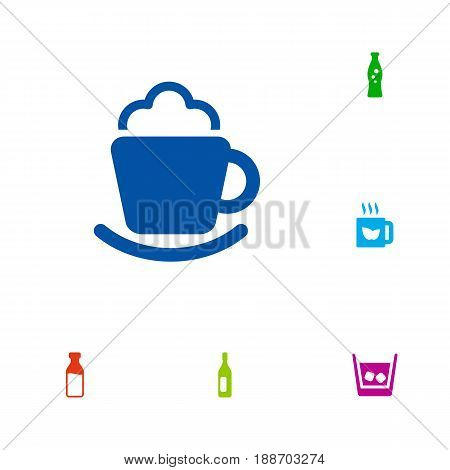 Set Of 6 Drinks Icons Set.Collection Of Cream, Ice, Fizzy Water And Other Elements.