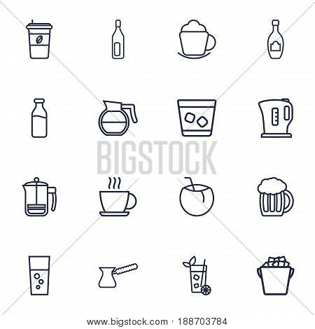 Set Of 16 Drinks Outline Icons Set.Collection Of Cocos, Ice Bucket, Lime And Other Elements.