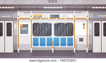 Empty Subway Car Interior Modern City Public Transport, Underground Tram Flat Vector Illustration