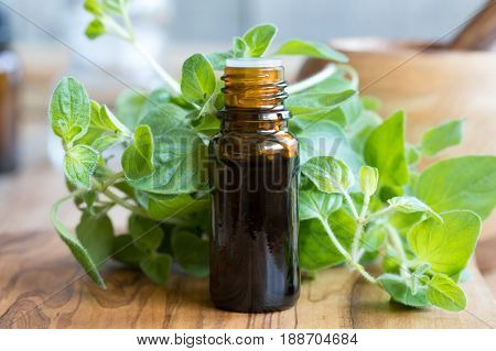 A Bottle Of Oregano Essential Oil With Fresh Oregano Leaves