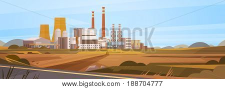 Factory Building Nature Pollution Plant Pipe Waste Banner Flat Vector Illustration