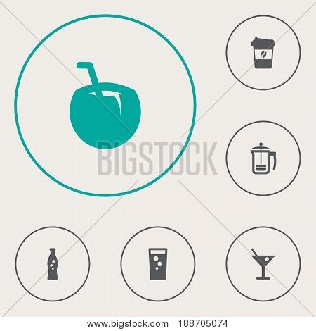Set Of 6 Drinks Icons Set.Collection Of Drink, Espresso, Fizzy Water And Other Elements.