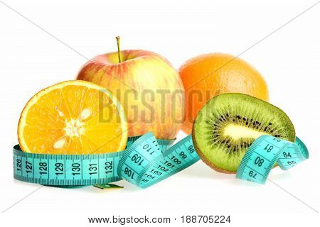 Fruit Compilation: Apple, Whole And Cut Orange And Kiwi Fruit