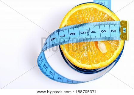 Health And Diet Concept, Tangerine Slice With Centimeter On White