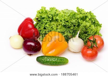 Cucumber, Peppers, Leafy Vegetables, Lettuce Leaf With Tomatoes And Onion