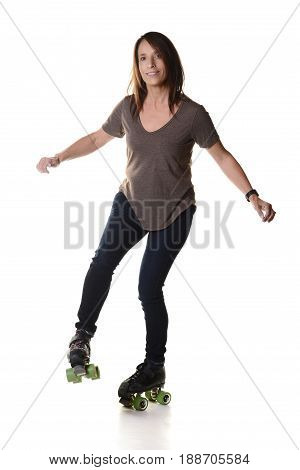 woman dancing on roller skates on white background