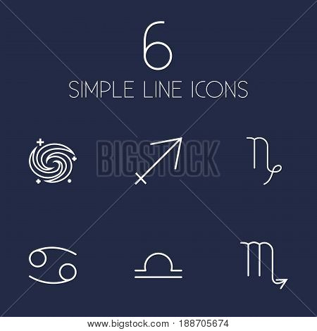 Set Of 6 Astrology Outline Icons Set.Collection Of Sagittarius, Scorpion, Cancer And Other Elements.