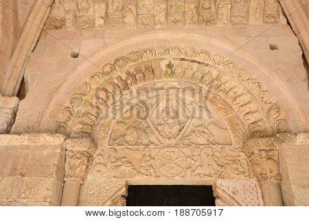 Entrance of Church of Nuestra Senora de la Pena (XII century) Romanesque Sepúlveda. Segovia provinceSpain