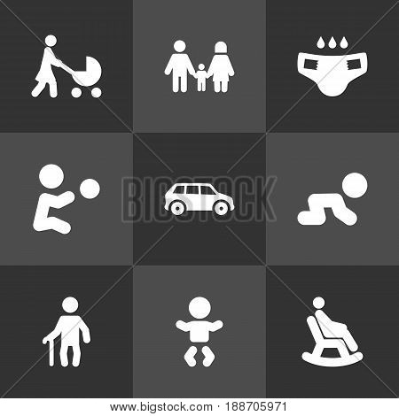 Set Of 9 Relatives Icons Set.Collection Of Nappy, Grandpa, Automobile Elements.