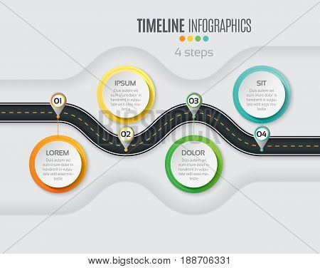 Navigation map infographic 4 steps timeline concept. Winding road. Vector illustration.