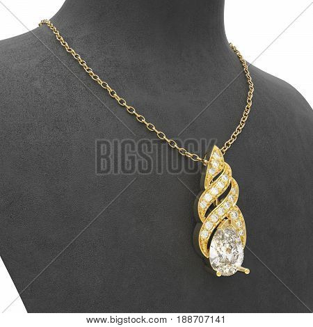 3D illustration gold necklace with diamonds on a black mannequin on a white background