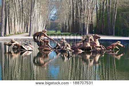 The Fountain of Apollo - one of the most famous wonders of Versailles castle , France.