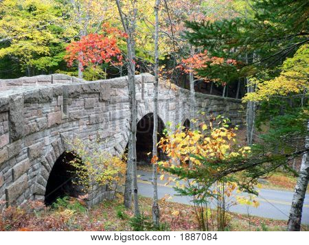 Stone Bridge With Fall Colors