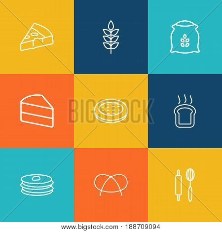 Set Of 9 Cooking Outline Icons Set.Collection Of Toast, Rolling Pin, Pretzel And Other Elements.