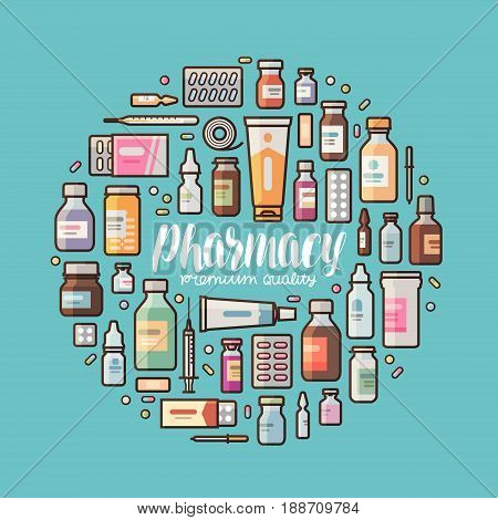 Pharmacy banner. Medical supplies, drugs, medicine, medication set icons or symbols