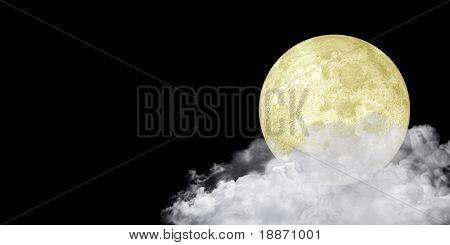 The moon on a cloud against the black sky