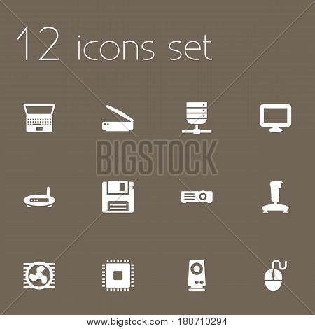 Set Of 12 Laptop Icons Set.Collection Of Photocopy, Diskette, Datacenter And Other Elements.