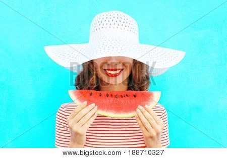 Fashion Portrait Happy Smiling Young Woman Is Holding A Slice Of Watermelon In A Straw Hat Over A Co