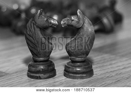 Wooden old chess, developing board game. Retro.