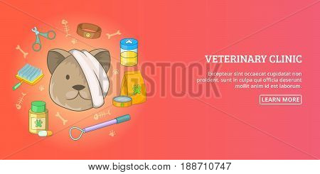 Vet clinic banner horizontal concept man. Cartoon illustration of vet clinic banner man horizontal vector concept for web