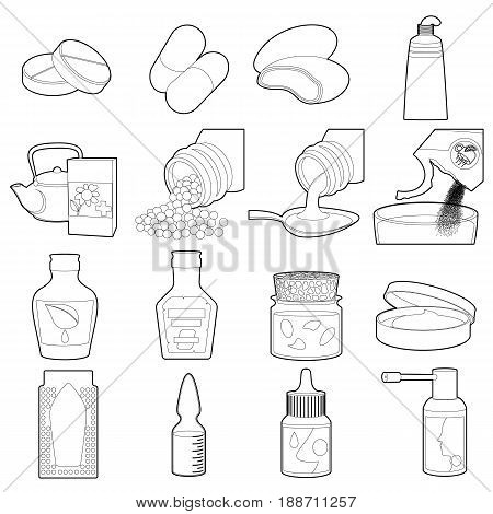 Drug types icons set. Outline illustration of 16 drug types vector icons for web