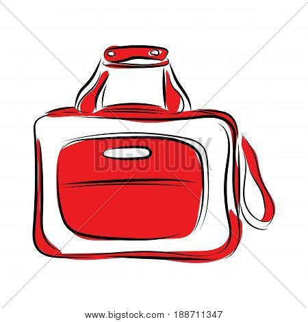 Graphic Design Editable For Your Design, Hand Drawn Bag In Color Isolated On White Background. Vecto