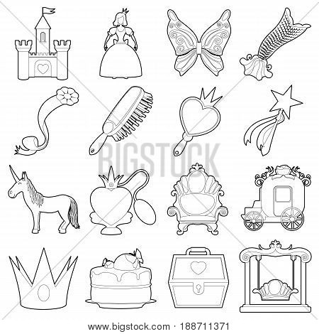 Princess accessories icons set. Outline illustration of 16 princess accessories vector icons for web