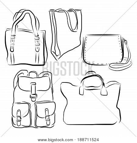Graphic Design Editable For Your Design, Hand Drawn Bag Set In Black Outline Isolated On White Backg