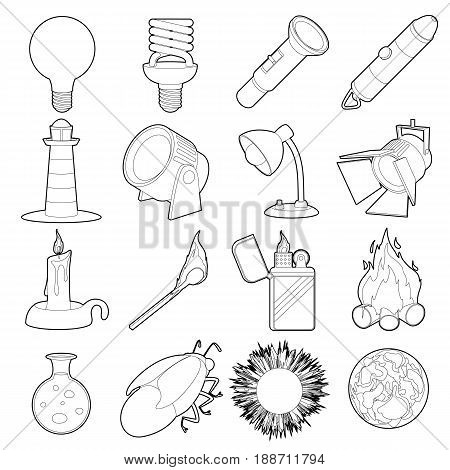 Light source icons set. Outline illustration of 16 light source items vector icons for web