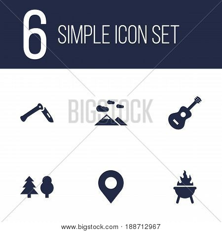 Set Of 6 Outdoor Icons Set.Collection Of Location, Landscape , Jackknife Elements.